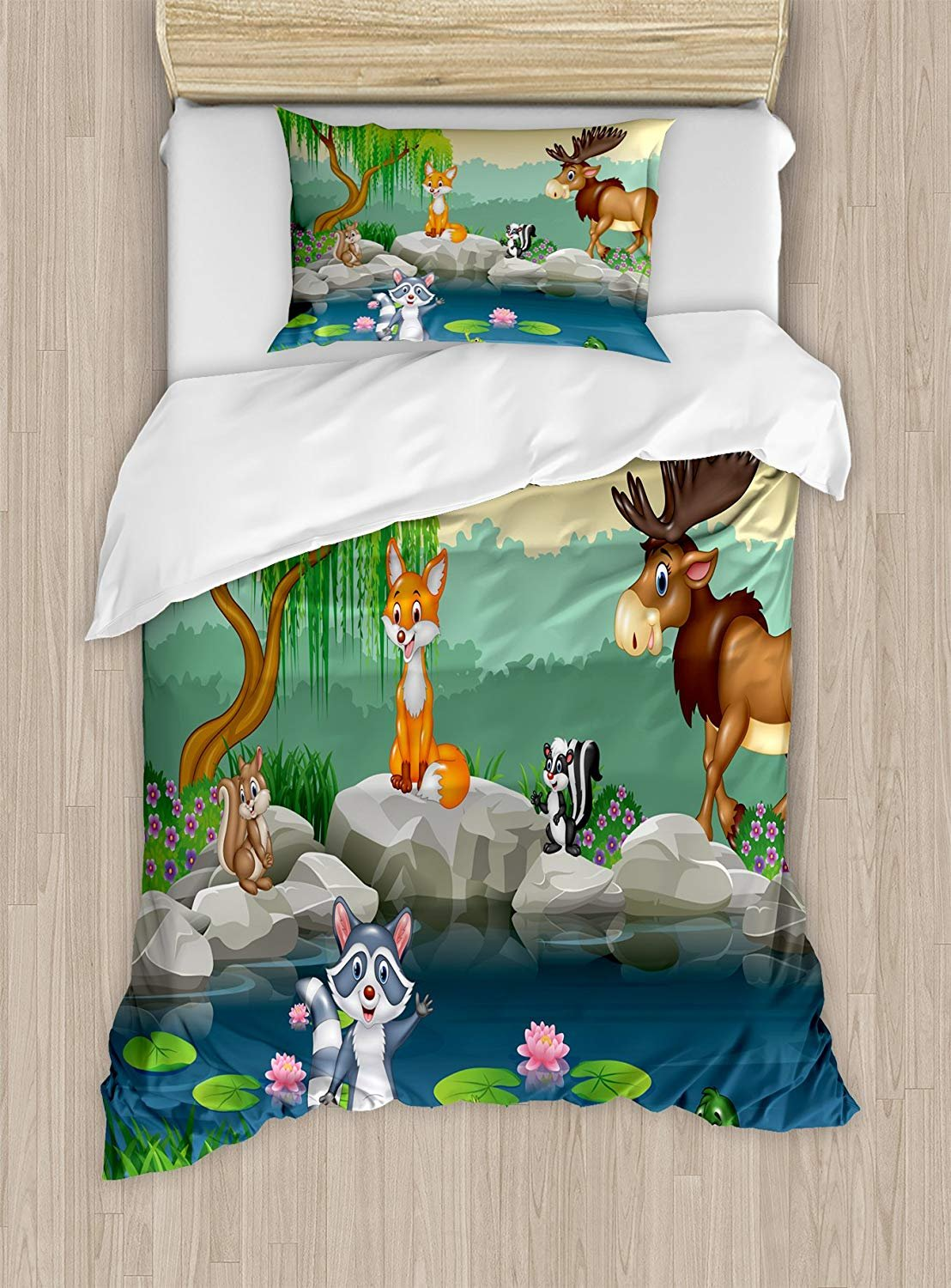 Twin XL Extra Long Bedding Set,Cartoon Duvet Cover Set,Funny Mascots Animals by The Lake Moose Fox Squirrel Raccoon Kids Nursery Theme,Cosy House Collection 4 Piece Bedding Sets