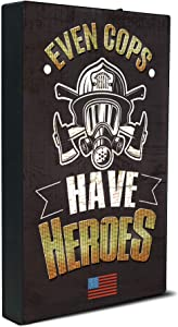 Firefighter Gifts for Men | Inspirational Hero Plaque | Unique Lighting Plaque Firefighter Decor | Meaningful Firefighter Gifts | Ideal Firefighter Home Decor | Firefighter Wall Art