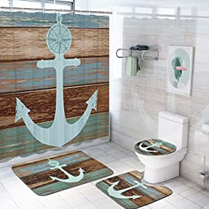4 Pcs Seashell Starfish Shower Curtain Sets with Non-Slip Rug, Toilet Lid Cover and Bath Mat, Ocean Conch Nautical Shower Curtain with 12 Hooks, Waterproof Beach and Fishing Nets Bath Curtain