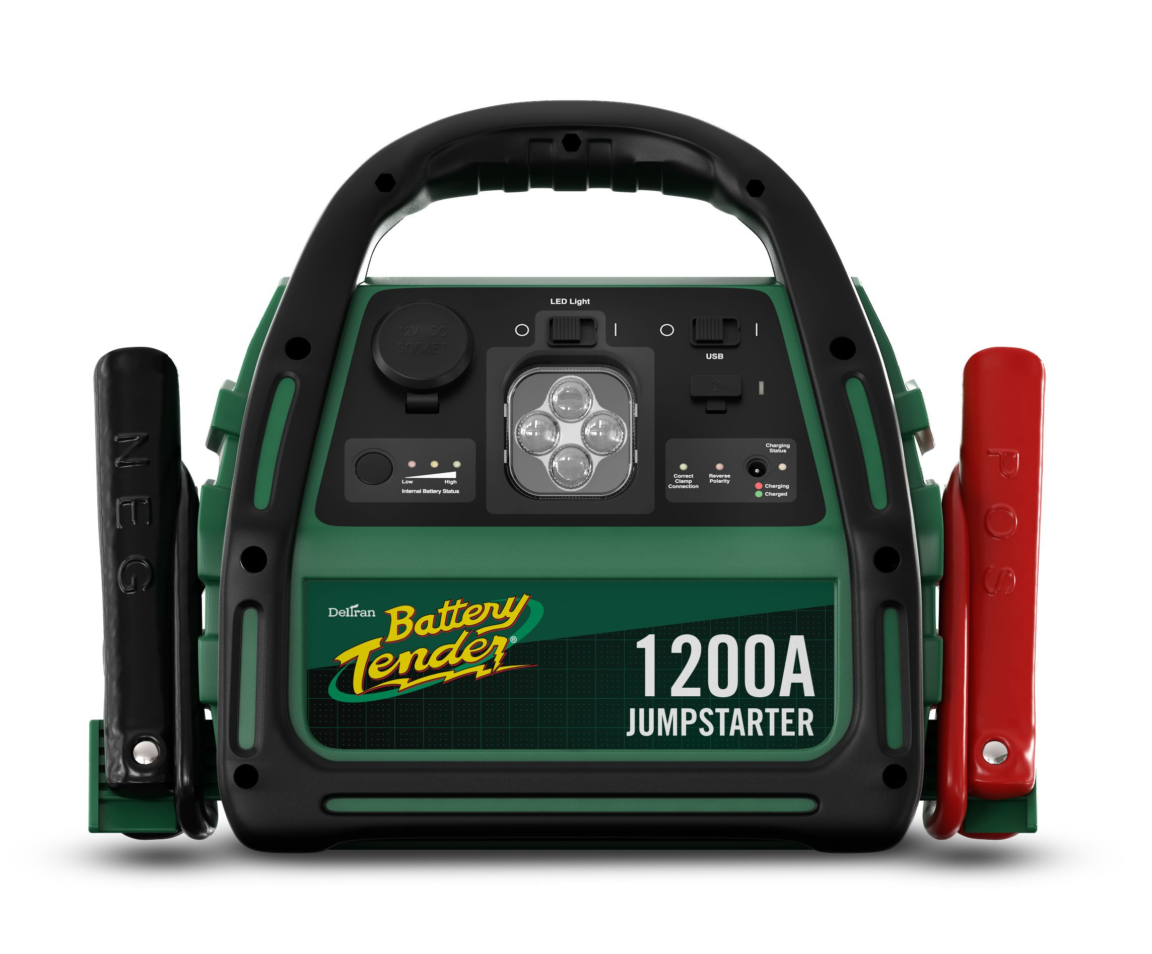 Battery Tender 1200 Peak Amp AGM Car Jump Starter with 2100A USB Ports to Charge Mobile Devices and 12V DC socket to Power Other Accessories