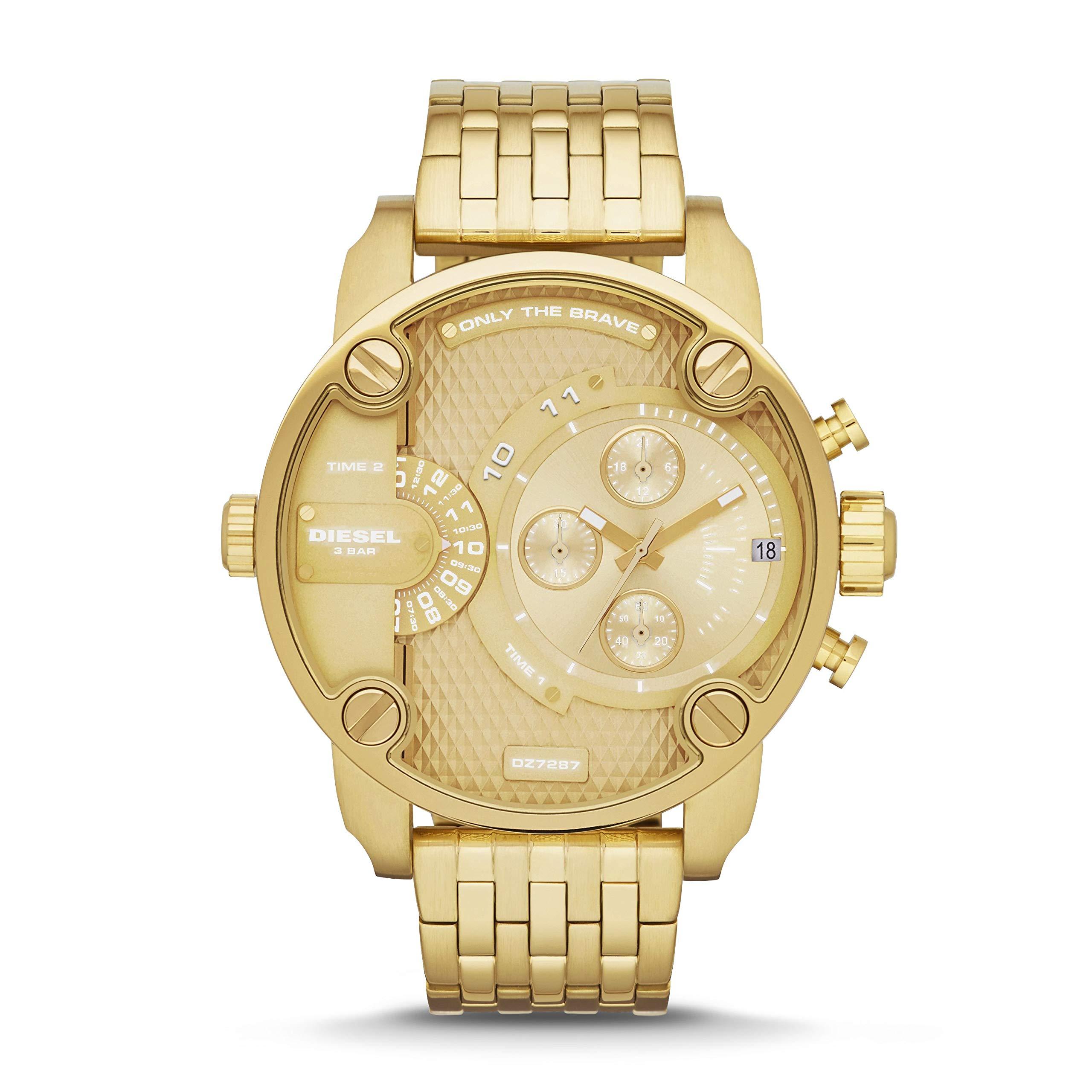 Diesel Men's Little Daddy Quartz Stainless Steel Chronograph Watch, Color: Gold-Tone (Model: DZ7287) by Diesel