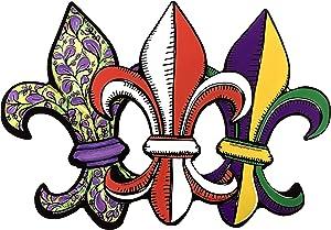 Car Magnet Red, Green and Purple Fleur De Lis Mardi Gras Magnetic Decal for Locker or Fridge, Set of 3