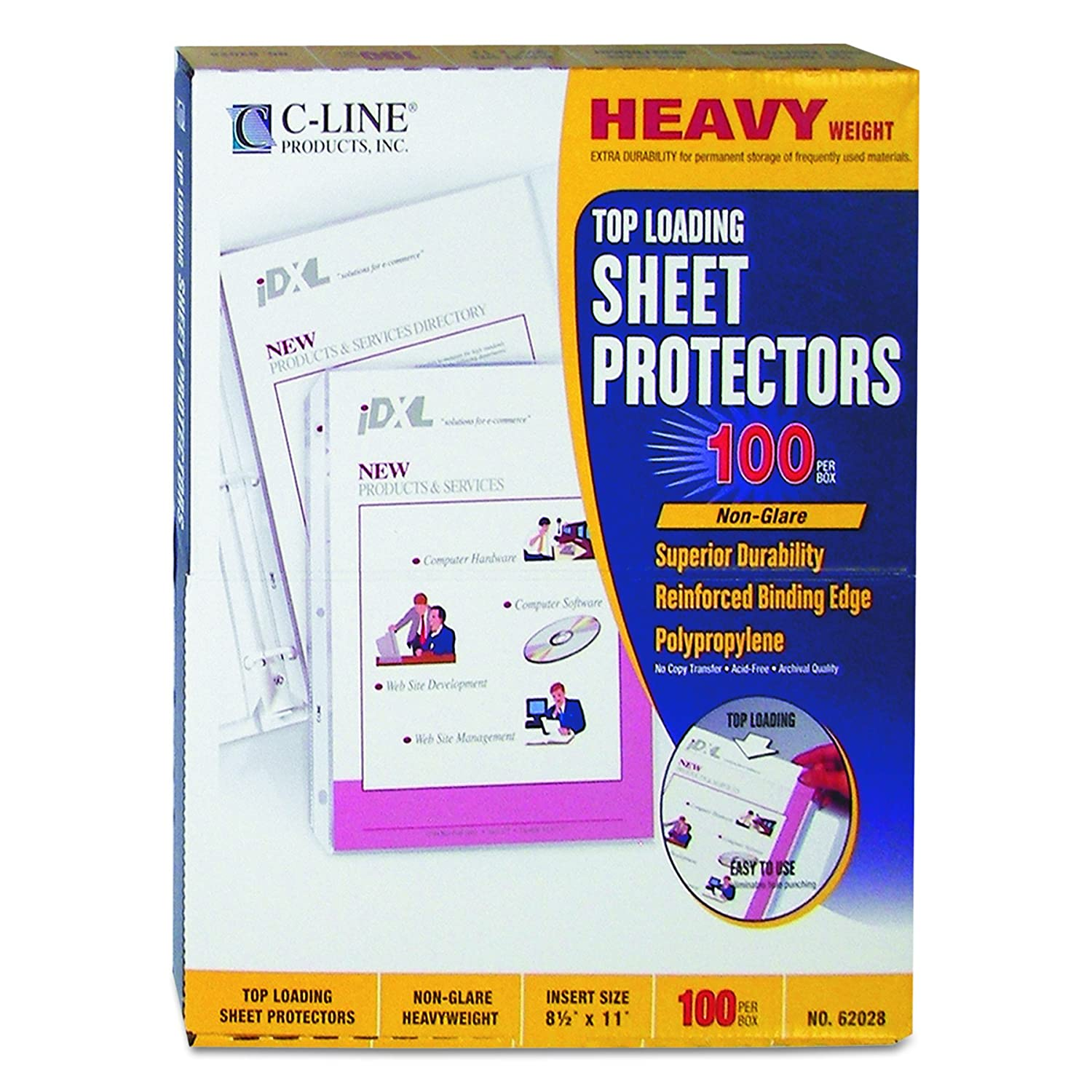 C-Line Heavyweight Polypropylene Sheet Protector, clear, 11 x 8 1/2, 100/BX - For Letter 8.5 x 11 Sheet - Clear - Polypropylene - 100 / Box C-Line Products Inc. 62023