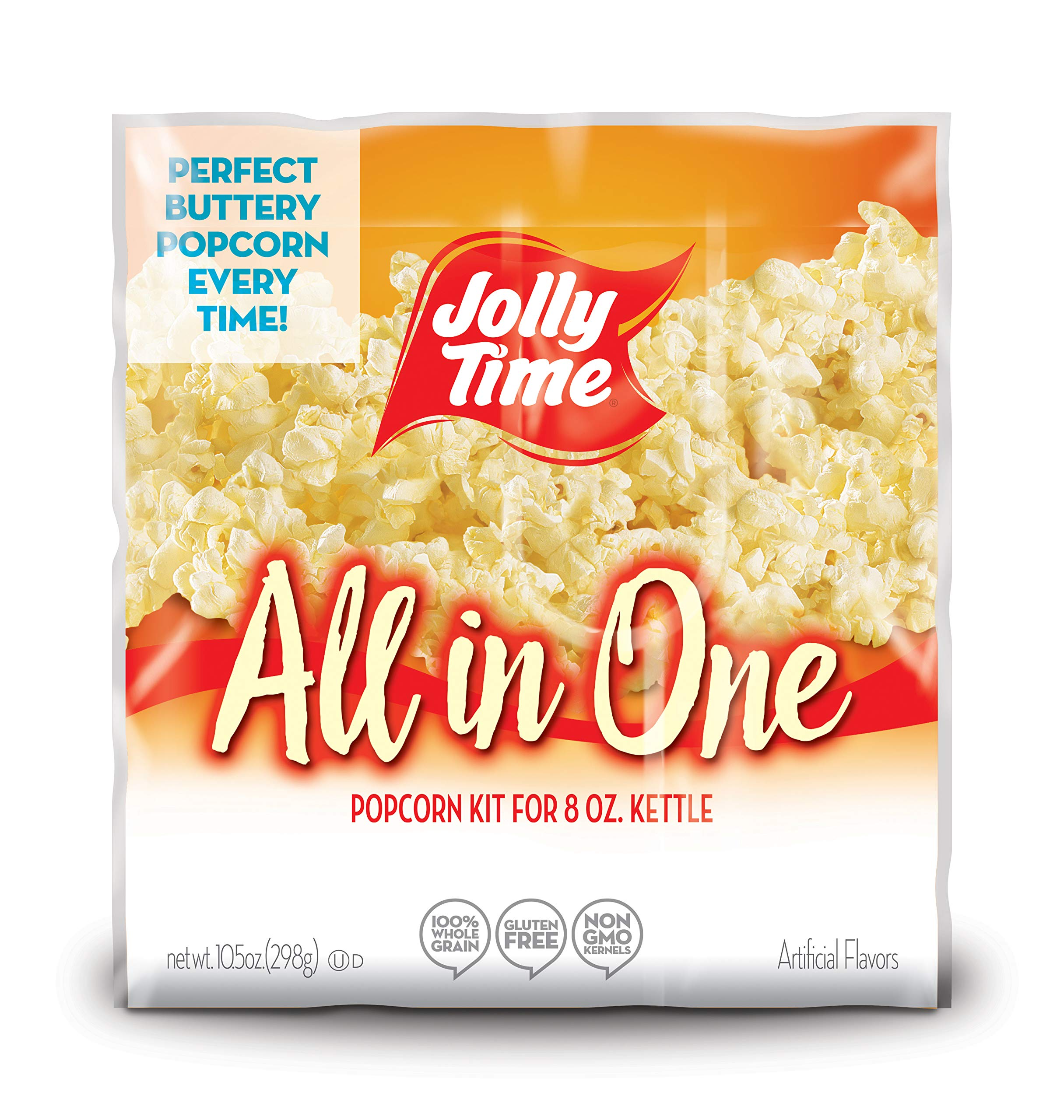JOLLY TIME All in One Kit for 8 oz. Popcorn Machine | Portion Packet with Kernels, Oil and Salt for Commercial, Movie Theater or Air Popper (Net Wt. 10.5 oz. Each, Pack of 24) by Jolly Time (Image #1)