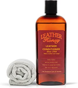 Leather Honey Leather Conditioner & Cleaning Kit for use on Leather Apparel, Furniture, Auto Interiors, Shoes, Bags and Accessories. 8oz Conditioner and 1 Lint-Free Cloth.