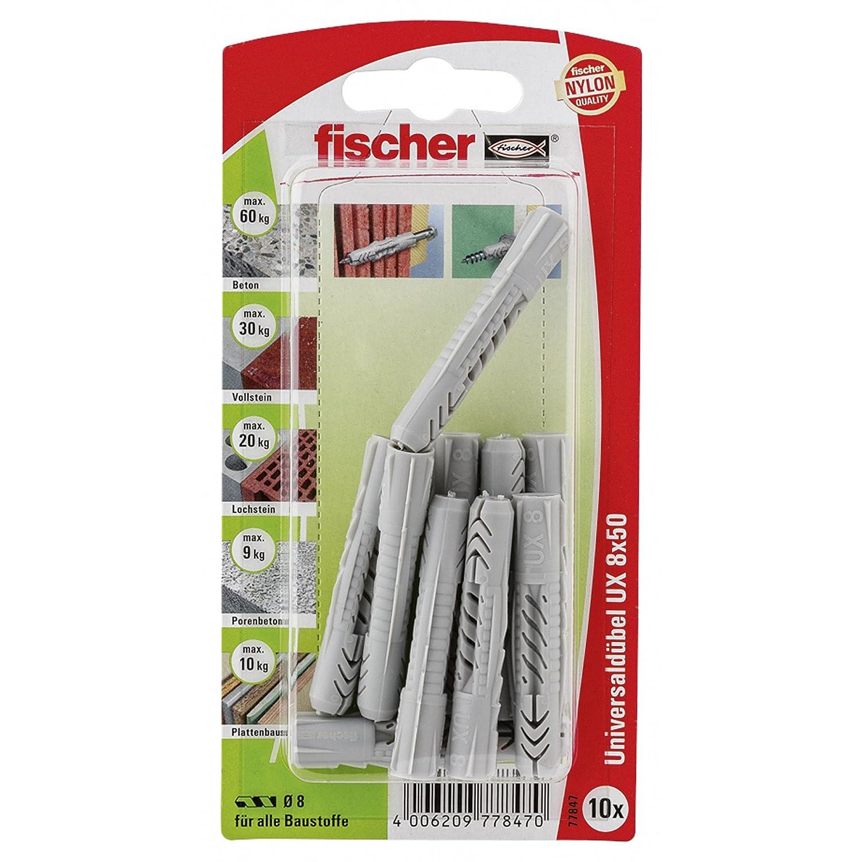 Fischer 77847 Lot de 10 Chevilles universelle UX 8 x 50 mm K