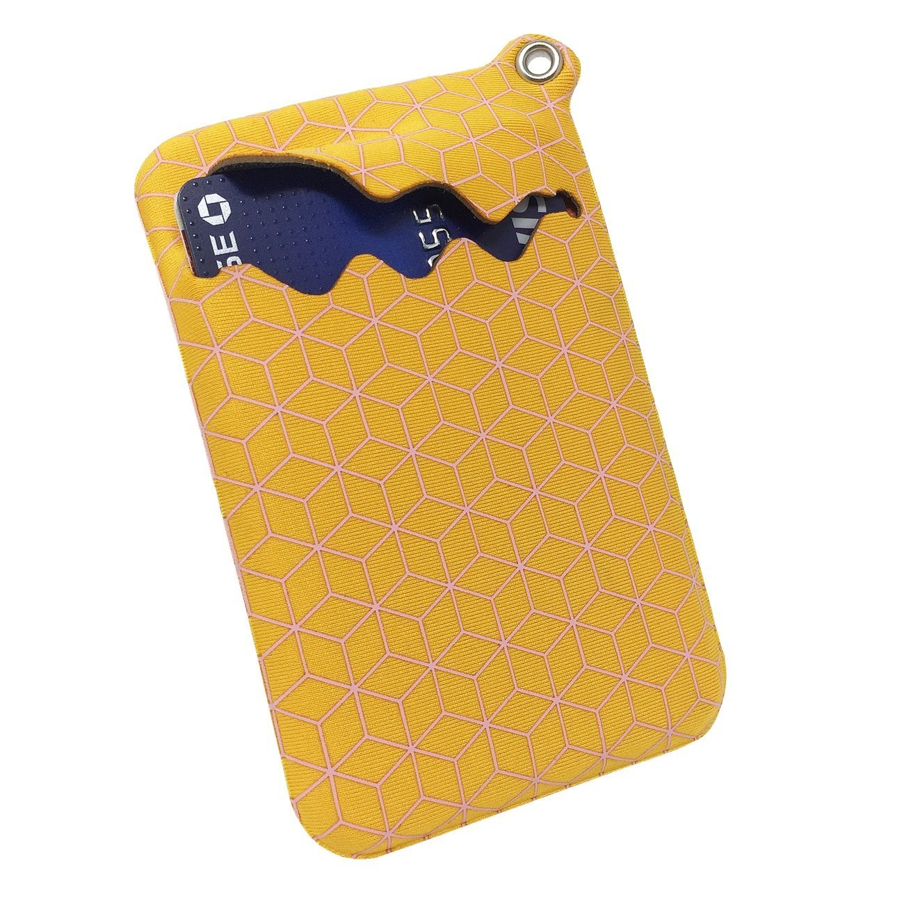 NIFTY5 Fabric Pocket Neoprene Minimalist Slim Wallet Card Holder with Neck Strap Compact Pocket Design (Cube Yellow)