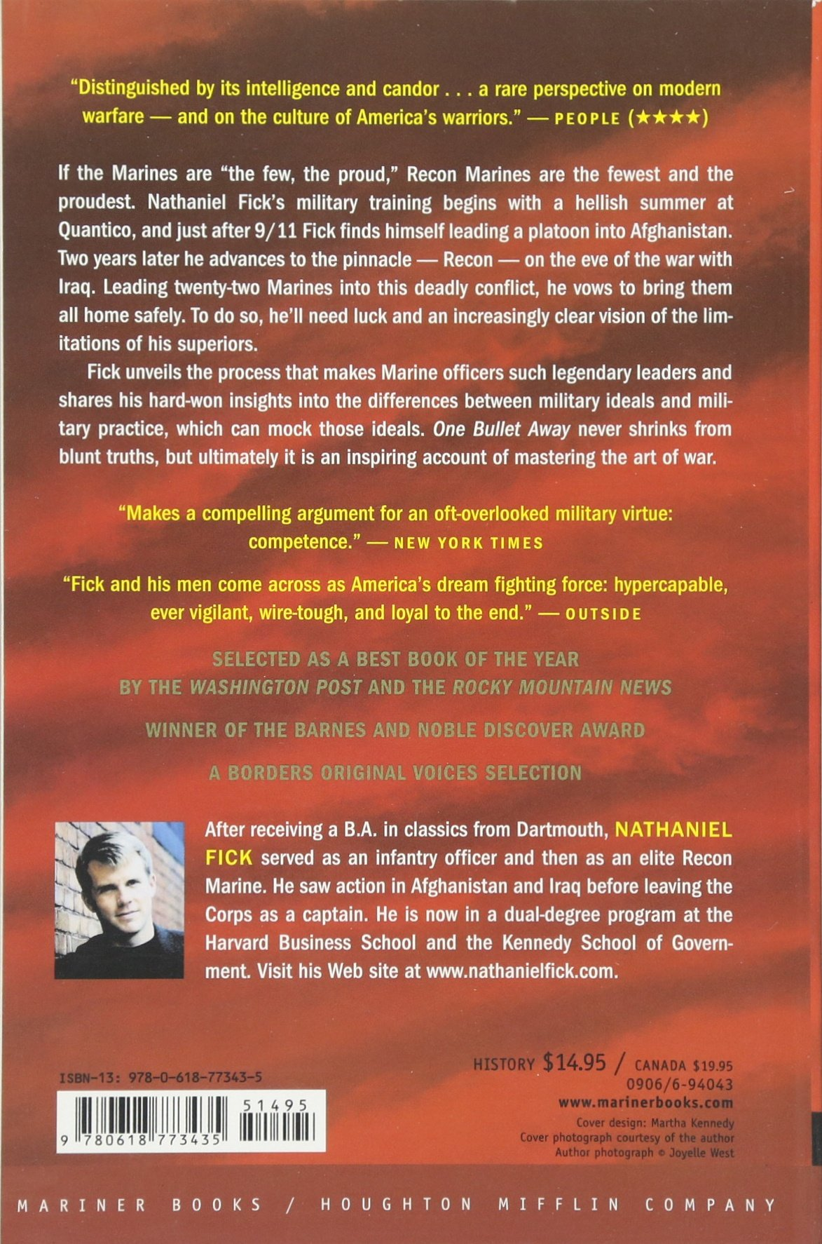 Amazon: One Bullet Away: The Making Of A Marine Officer  (0046442773430): Nathaniel C Fick: Books
