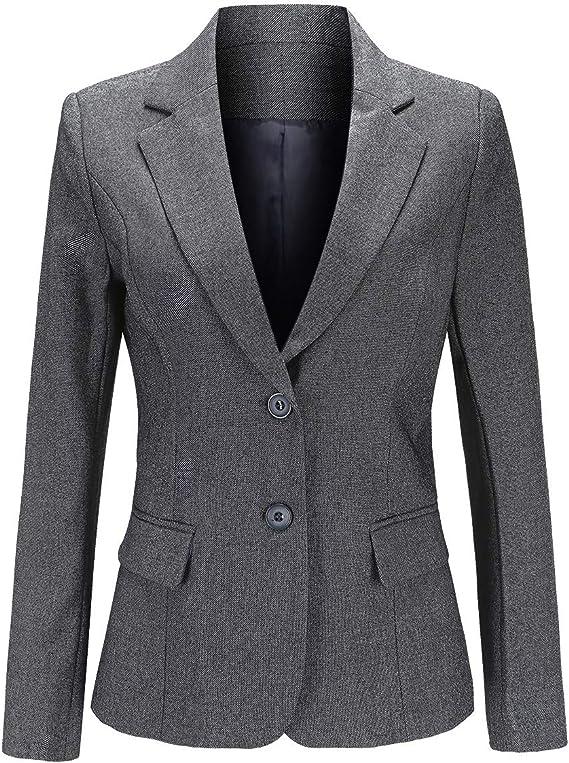 YYNUDA Ladies Plain Formal Tailored Blazer Button Up Slim Fit Elegant Blazer Jacket