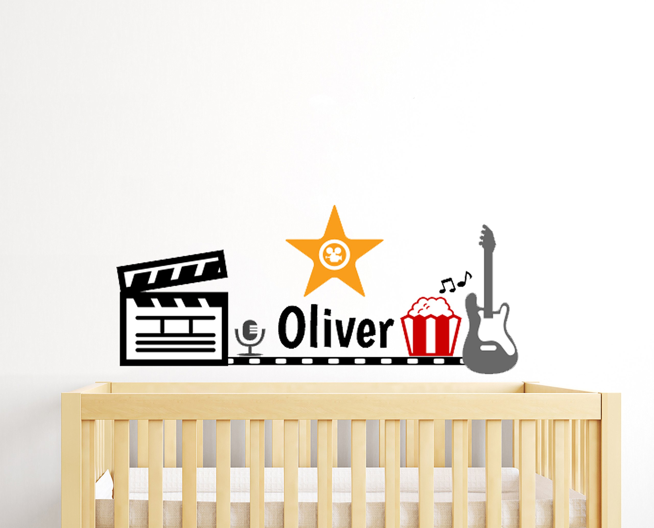 Custom Name Hollywood Movie Star Singer Rock Guitar and Popcorn Theme - Baby Boy / Girl - Wall Decal For Home Bedroom Children (50'' Wide x 21'' Height)