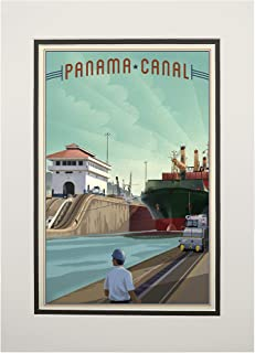 product image for Panama Canal - Litho 101229 (11x14 Double-Matted Art Print, Wall Decor Ready to Frame)