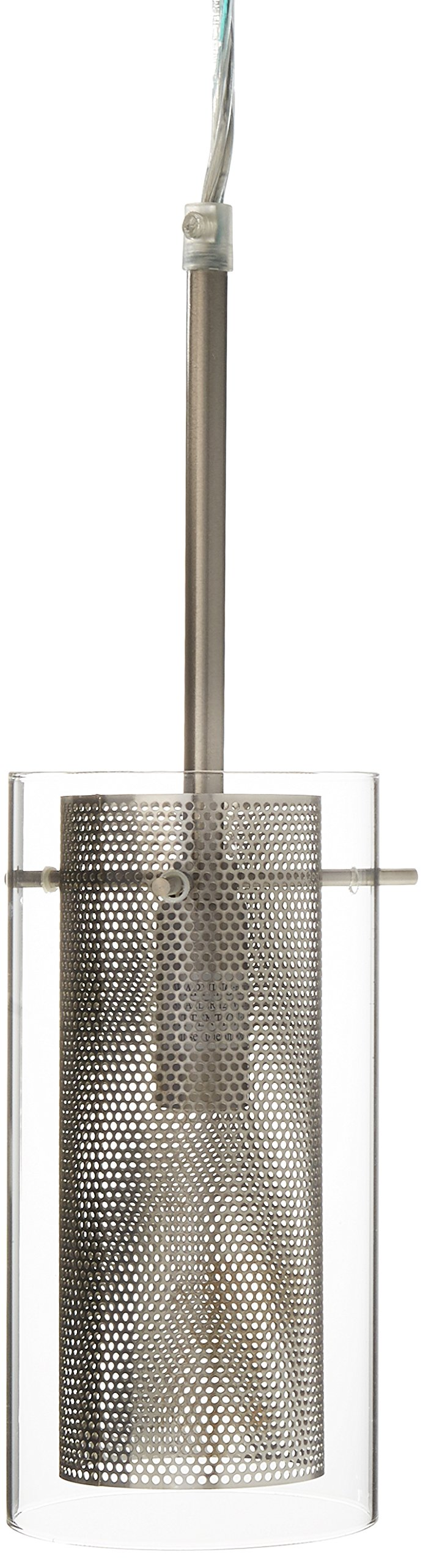 Lite Source LS-17851PS/CLR Wick 1-Lite Pendant Lamp, Polished Steel with Outer Clear Glass