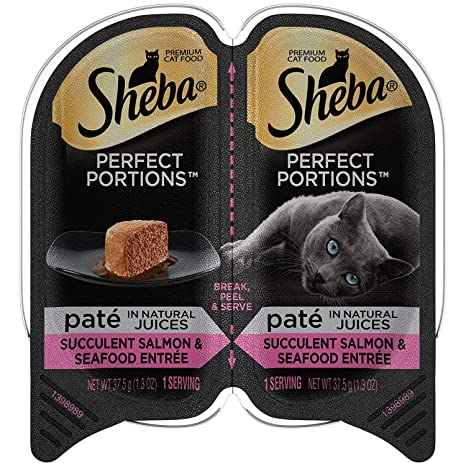 Amazon.com: Sheba Perfect Portions Pate - Salmón y marisco ...