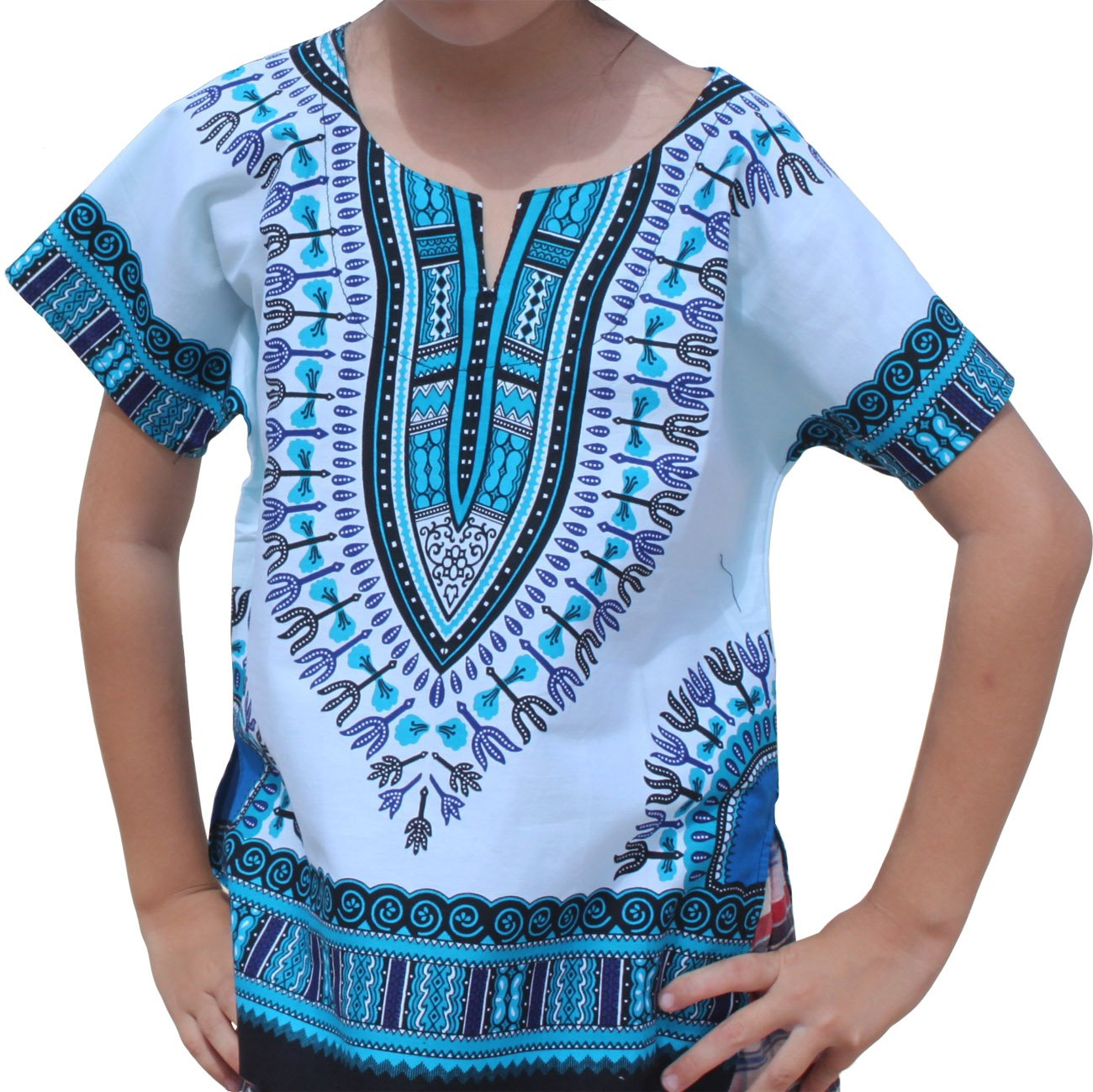 RaanPahMuang Unisex Bright African White Children Dashiki Cotton Shirt, 8-10 Years, Light Blue On White