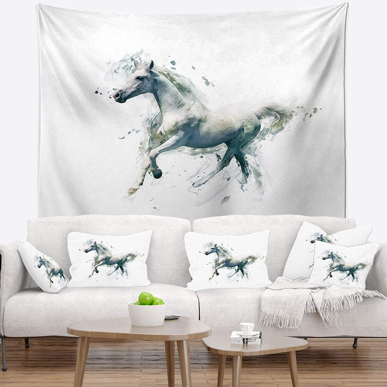 Created On Lightweight Polyester Fabric 50 in Designart TAP13417-50-60  Horse in Motion on White Animal Blanket D/écor Art for Home and Office Wall Tapestry Large x 60 in
