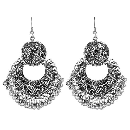 be9de0c54 Cardinal Oxidised Silver Afghani Earrings for Women: Amazon.in: Jewellery