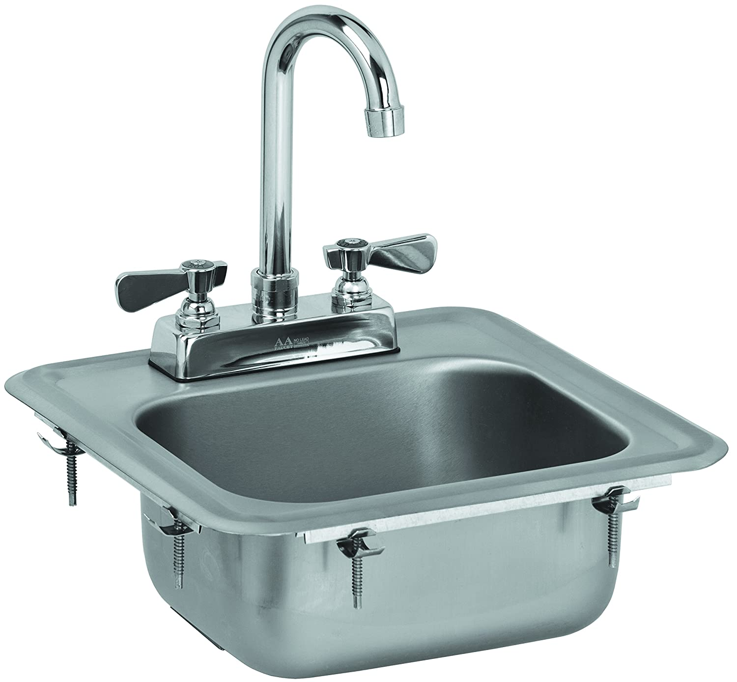 "ACE HS-0810IG Mini 13"" x 13"" Drop-In Hand Sink with Lead Free 6"" Spout Faucet & Strainer, ETL Certified"