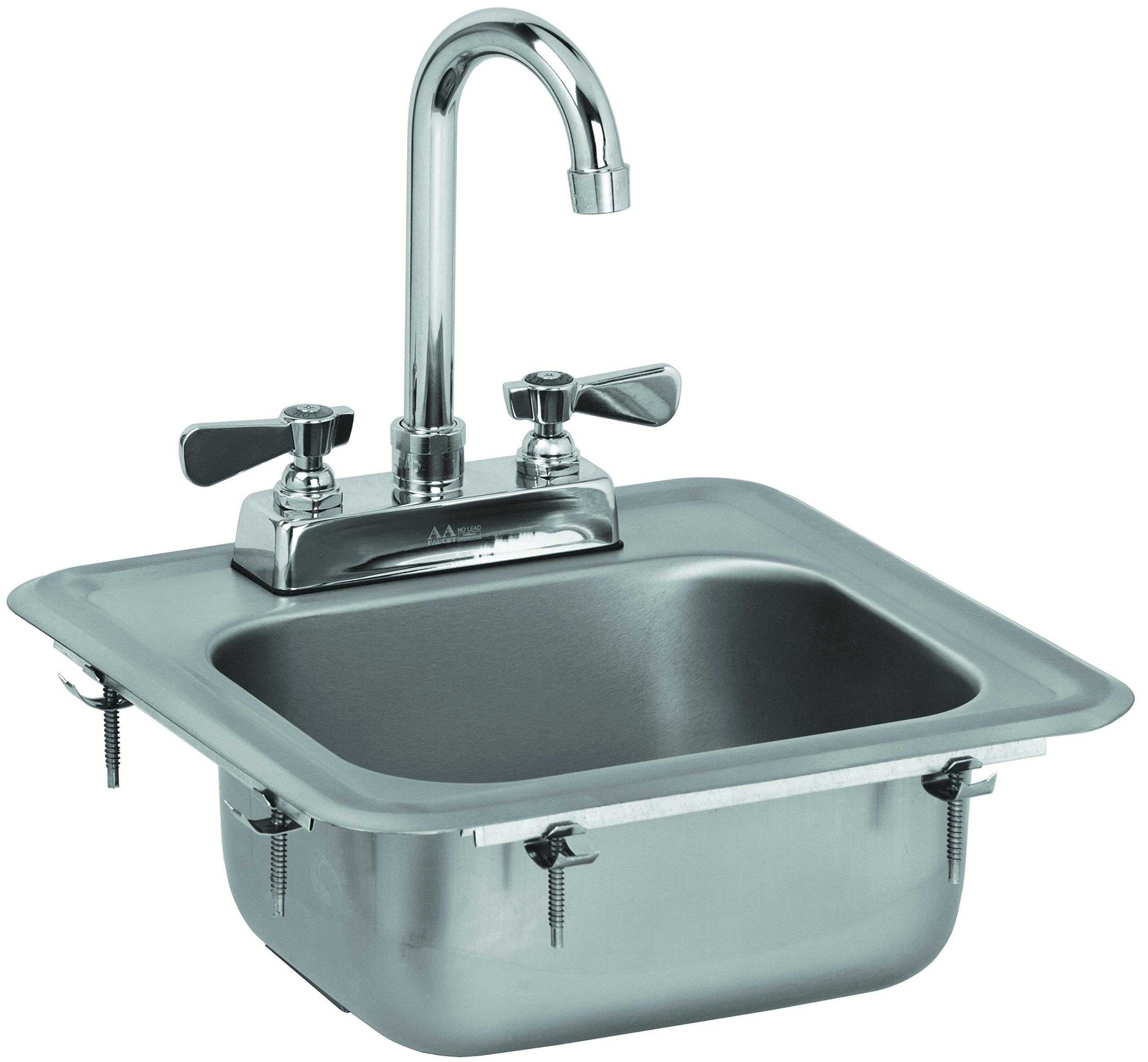 ACE HS-0810IG Mini 13'' x 13'' Drop-In Hand Sink with Lead Free 6'' Spout Faucet & Strainer, ETL Certified by ACE