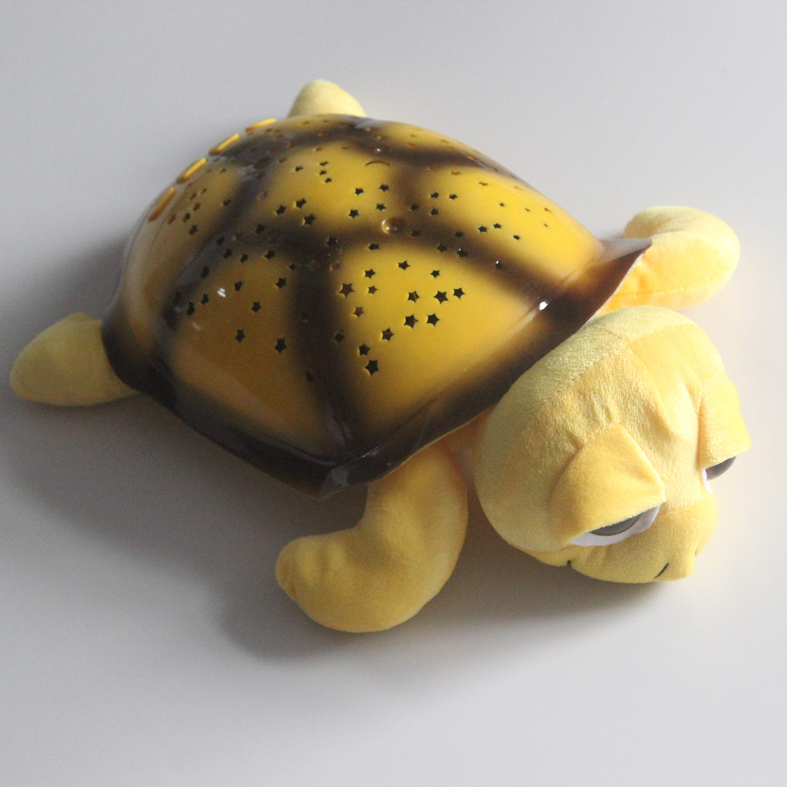 Turtle Night Light Projector Lamp Sleep Soothing 4 Colors Lights Stars Moons Starry Night Sky Baby Slumber Ease with Music Great Kids Gifts Children Toys (Yellow)