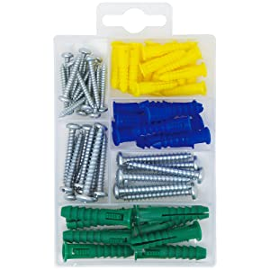 T.K.Excellent Plastic Self Drilling Drywall Ribbed Anchors with Phillips Flat Head Self Tapping Screws Assortment Kit,66 Pieces