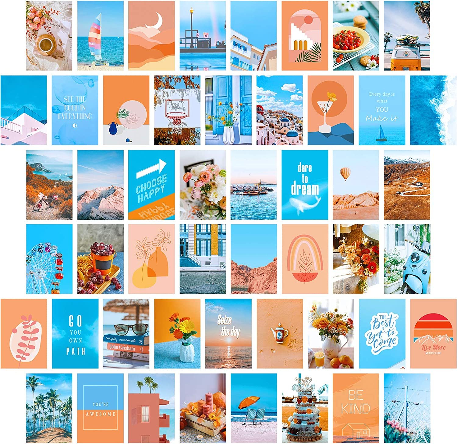 PAIVSUN Photo Wall Collage Kit Aesthetic Pictures - Cute Teen Room Decor for Girls Bedroom Aesthetic Posters for Teen Girls Room Dorm Wall Decor (50 Set 4x6 inch)
