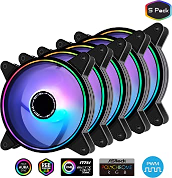 EZDIY-FAB Moonlight Ventilador de RGB PWM Caso 120mm con RGB PWM ...