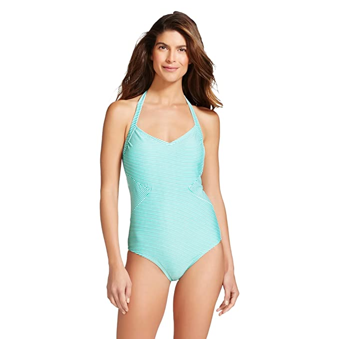 3419cc50a2ad1 Merona Women's Halter One Piece Swimsuit (Small, Teal Stripe) at ...