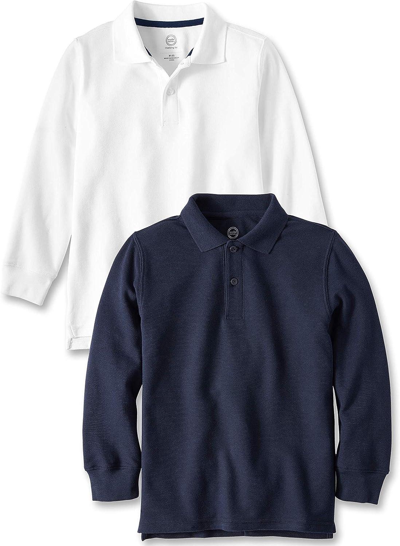 Wonder Nation Boys Purple School Uniform Long Sleeve Polo Shirt 10-12 Large