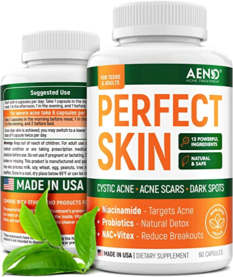 AENO Perfect Skin Acne Pills for Cystic Acne - Made in USA - Hormonal Acne Treatment with Vitamin Complex & Zinc - All-Natural Pills for Teens & Adults - Vegan, Non-GMO - 60 Pills