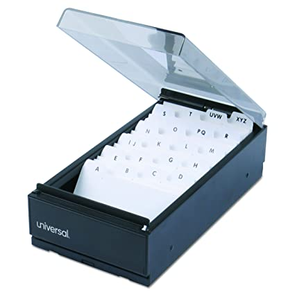 universal 10601 business card file metalplastic 4 14 x 8 - Business Card Box