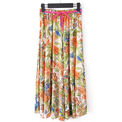 Azue Women's Midi Skirt Elastic Waist Floral Print Skirts Retro Multi-Colored