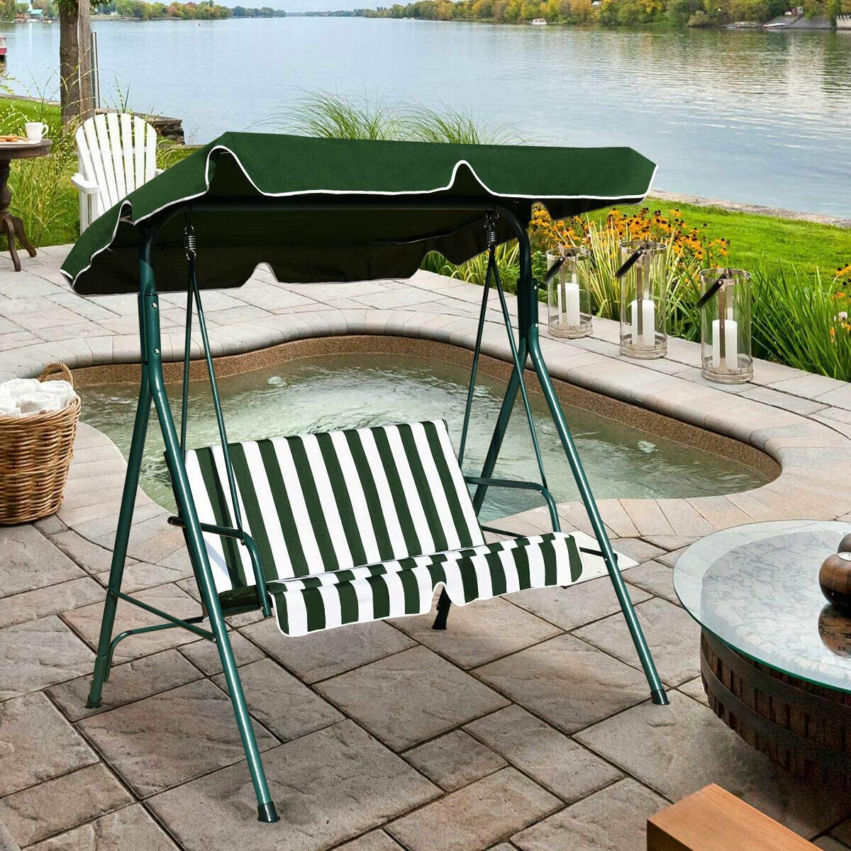 Amazon Com Alek Shop Outdoor Swing Glider Awning 2 Person Chair Loveseat Canopy Patio Porch Furniture Hammock Cushioned Steel Lounge Garden Yard Green Home Kitchen