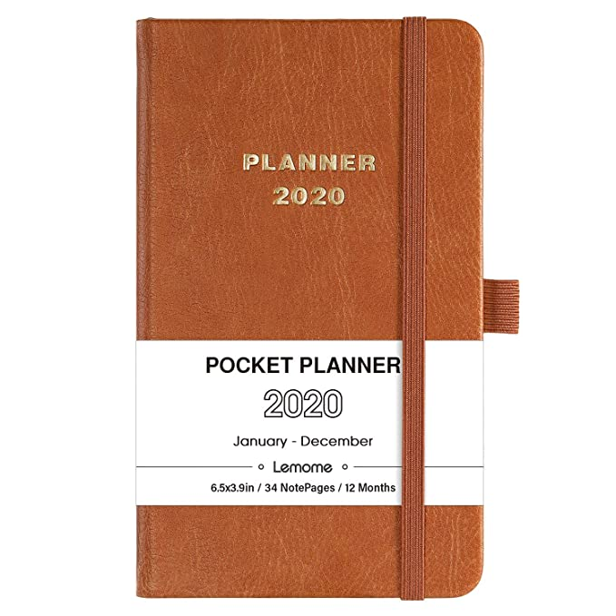 2020 Pocket Calendar - Weekly & Monthly Pocket Planner, Elegant Leather with Pen Hold, Bonus 12 Monthly Tabs and Inner Pocket, Banded, 6.4
