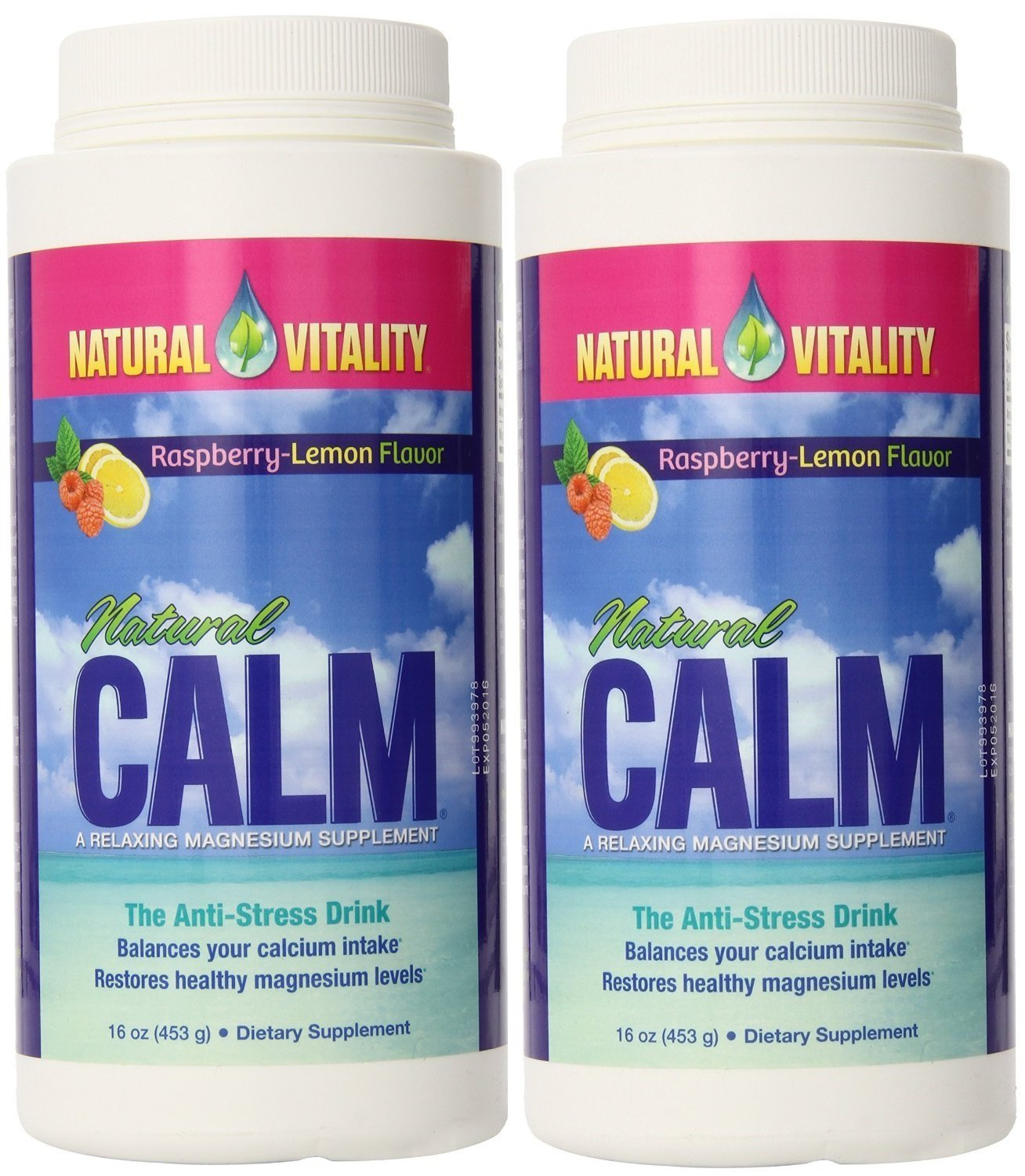 Natural Vitality Natural Calm Magnesium, Powder, Raspberry Lemon 16 Ounce 2-Pack