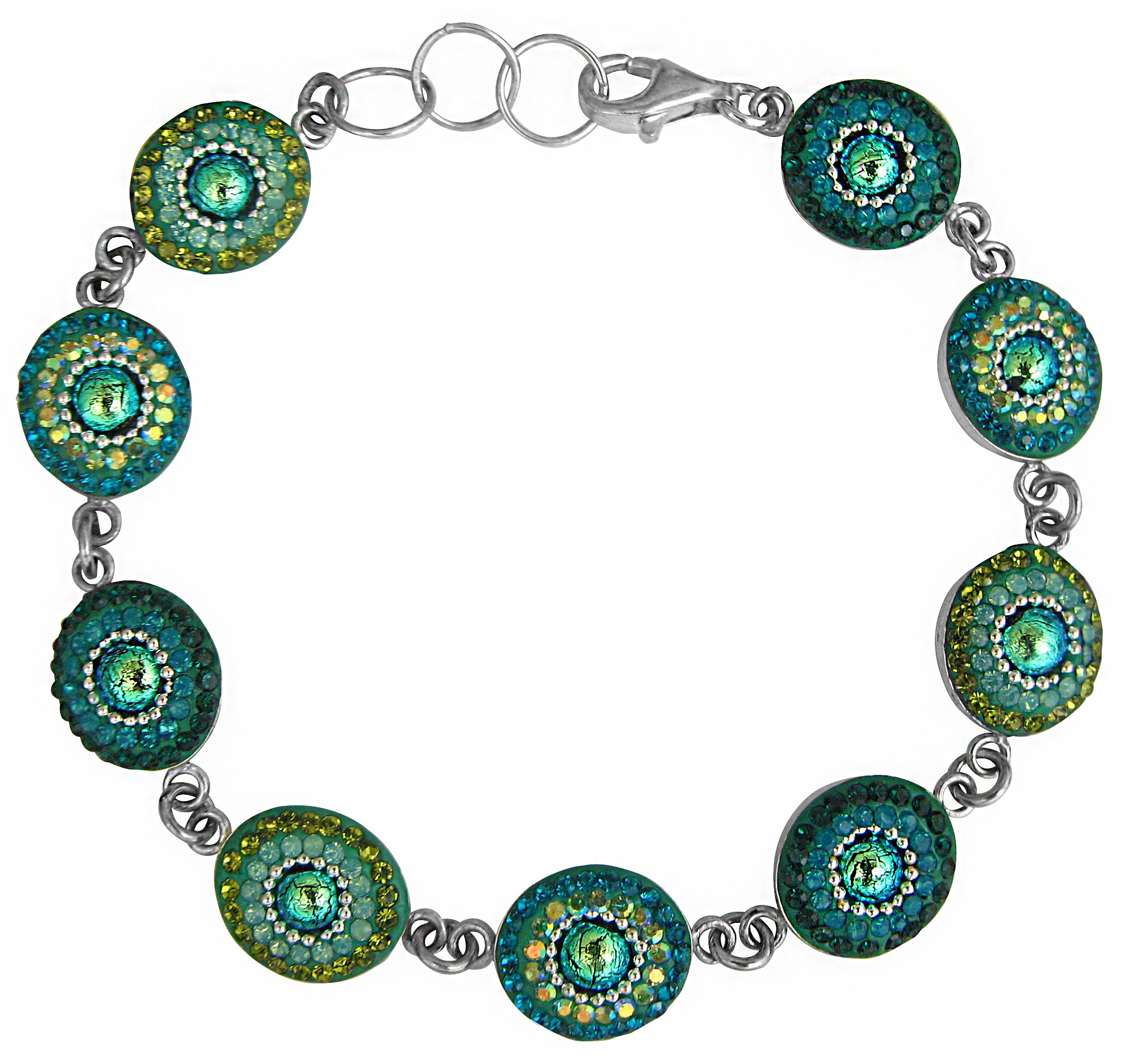 Mosaico Sterling Silver Dichroic Glass and Preciosa Czech Crystals Link Bracelet, 7.5'' … (Green and Teal) by Dreamglass Mexico