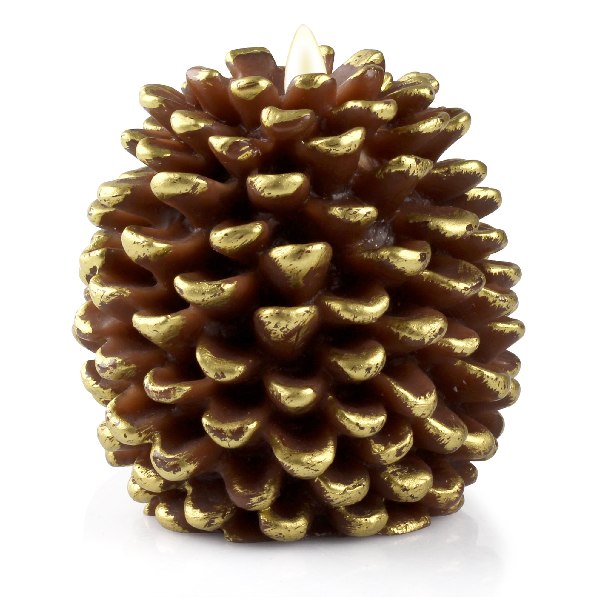 Luminara LED Flameless Candle, Flameless Real Pine Cone LED Candles for Home/Party/Halloween/Christmas/Wedding Decor with Timer Control, Battery Operated 3'' x 4.2''(Brown) by iDOO (Image #1)