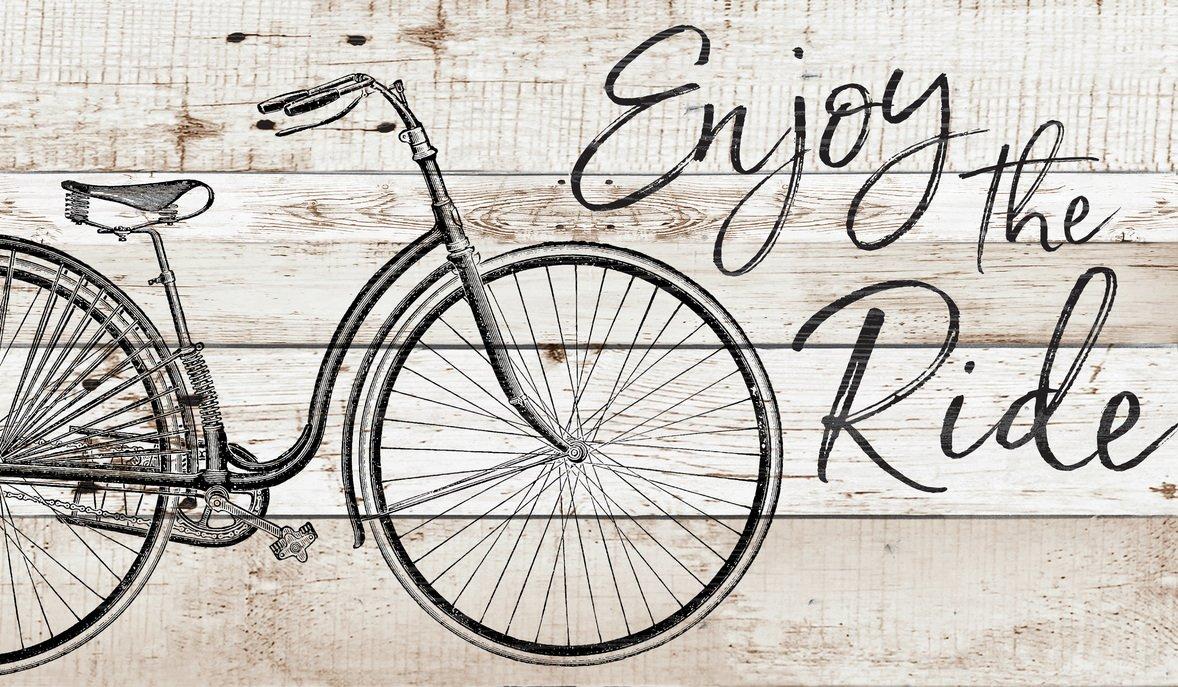 GRAHAM DUNN Enjoy The Ride Bicycle Natural 24 x 14 Wood Pallet Wall Plaque Sign P Graham Dunn P