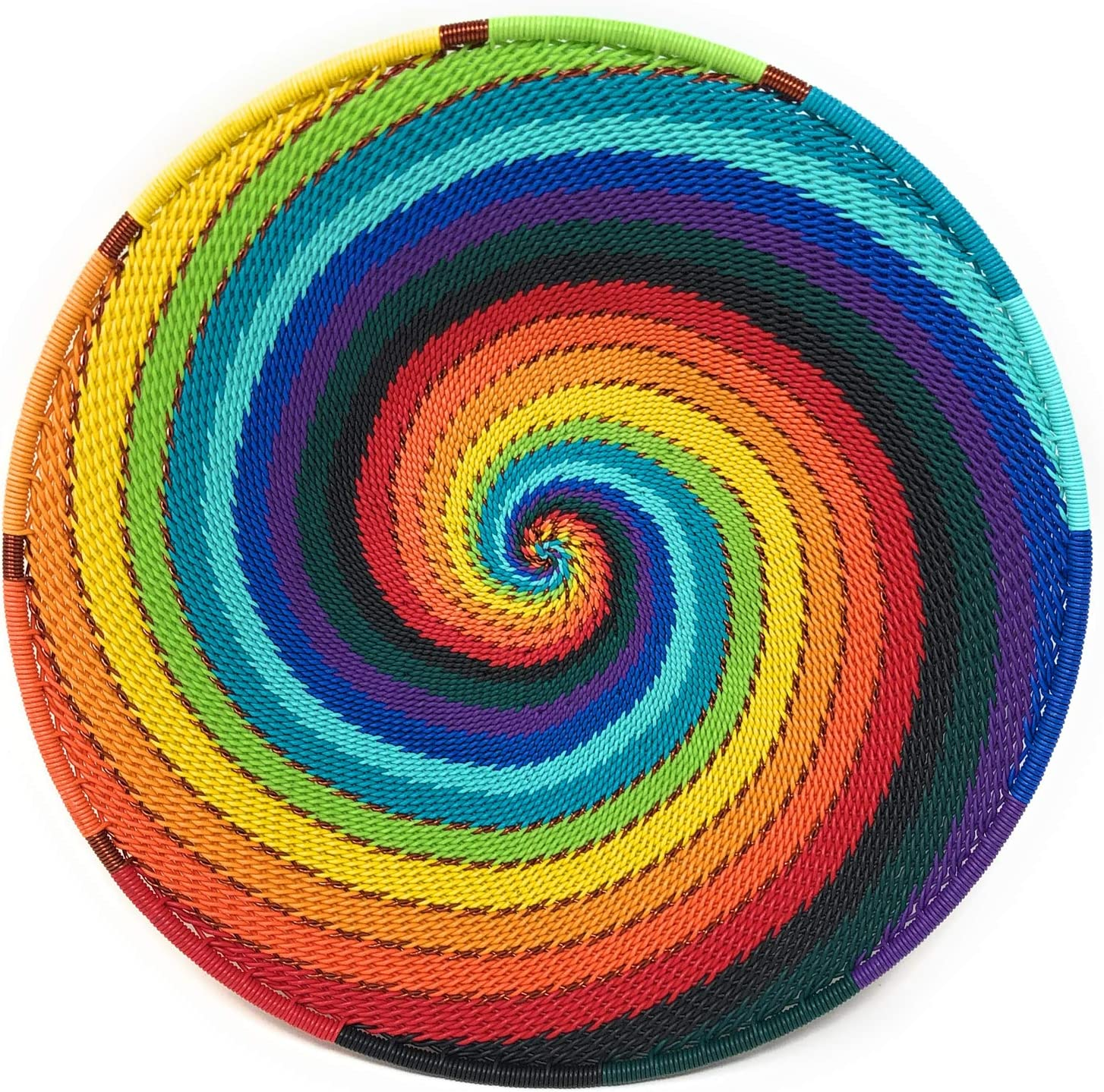 Bridge for Africa Fair Trade Zulu Telephone Wire 8-inch Platter Basket, African Rainbow