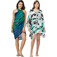 SOURBH Beach Wear Kaftan & Sarong for Women Combo Value Pack Body Wrap Swim Coverup - Set of 2 (Free Size)