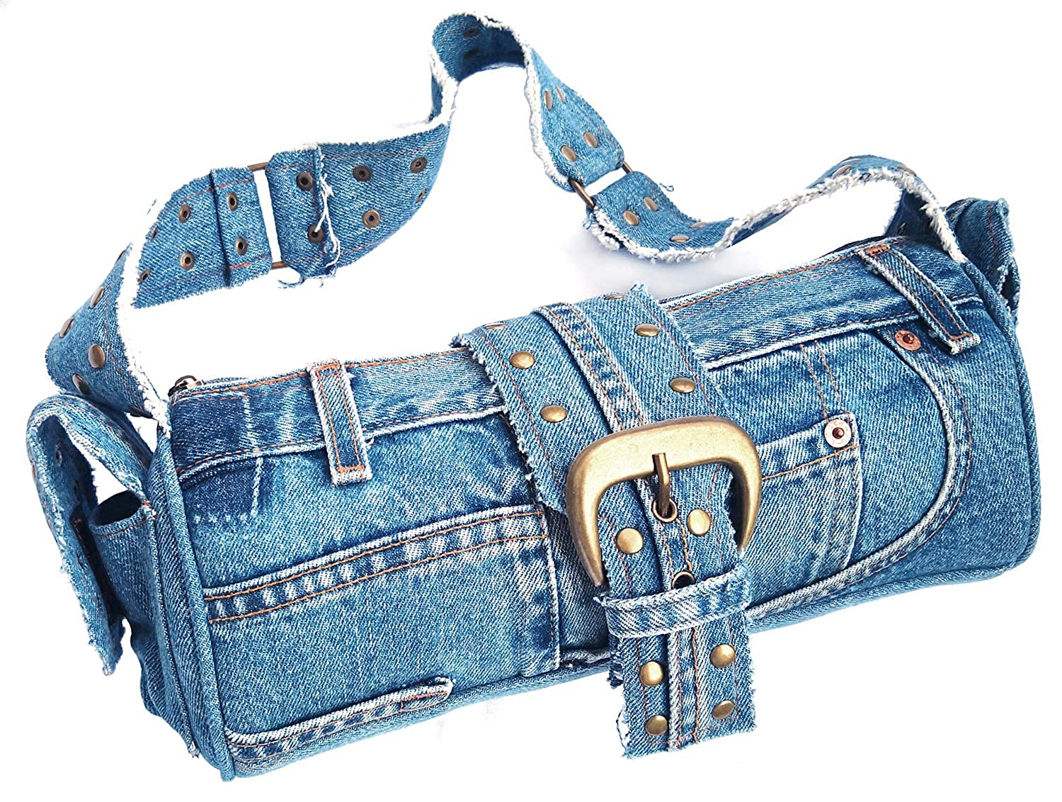 Amazon.com: BDJ Azul Denim Jean Studded lazo Hobo Estilo ...