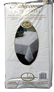 Linette 7 Piece 3-Ply Table Cover Linette Absorbent Waterproof Plastic Back, White