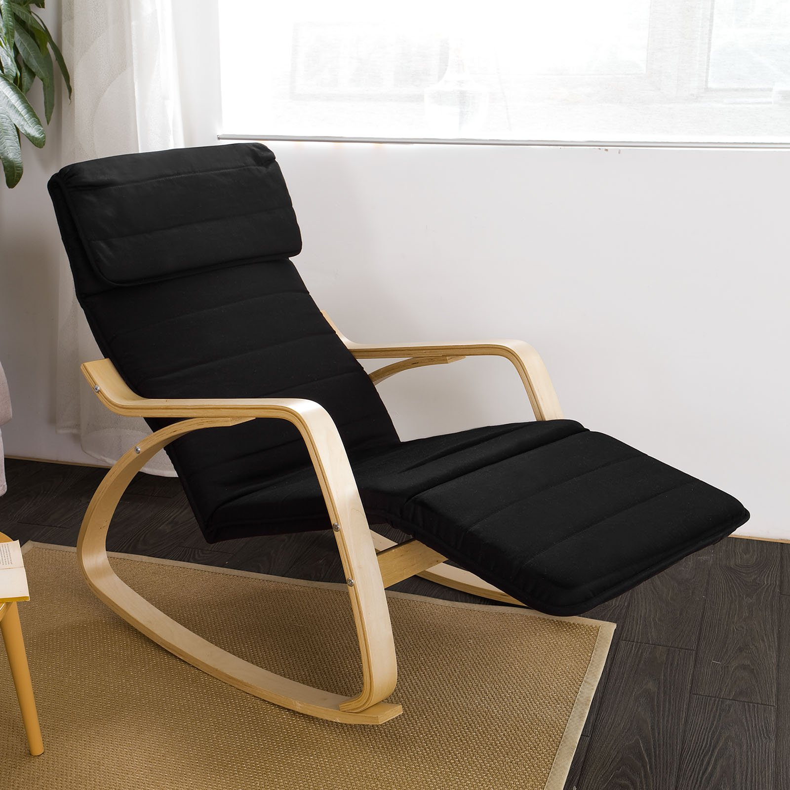 Haotian Comfortable Relax Rocking Chair with Foot Rest Design, Lounge Chair, Recliners Poly-cotton Fabric Cushion FST16 (black) by SoBuy (Image #2)