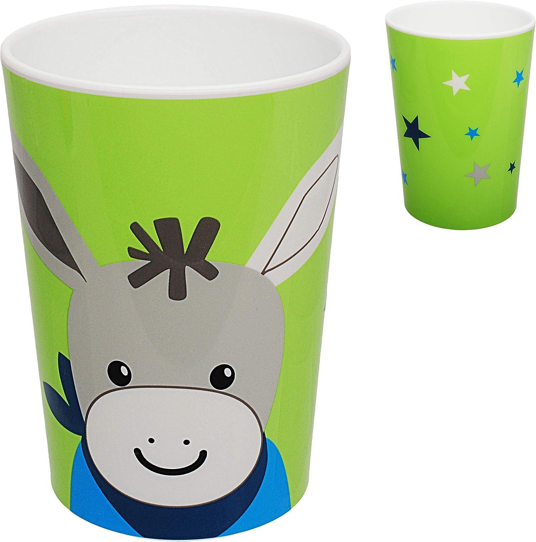 Geschirrset rutschfest alles-meine.de GmbH 2 * 5 TLG Kinderbesteck Babyteller Esel Set BPA frei Teller Name Pferd /& Sterne inkl Trinktasse Kindergeschirr ..