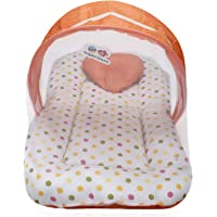 Superminis Multicolor Dot On White Base Design Bedding Set Thick Base, Foldable Mattress, Heart Shape Pillow and Zip Closure Mosquito Net