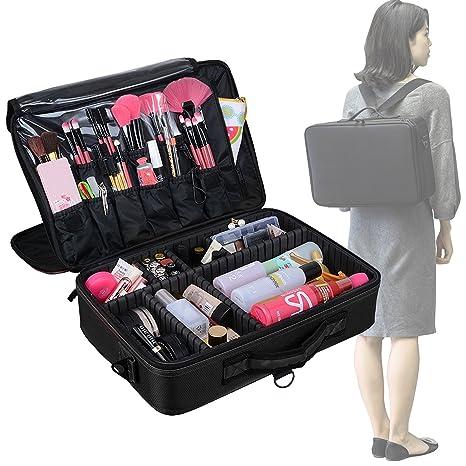 AMASAVA Bolsa de maquillaje con divisiones extraíbles Bolsa de almacenamiento cosmética Bolsas Bolsa de maquillaje cosmética 3 capas libres ...