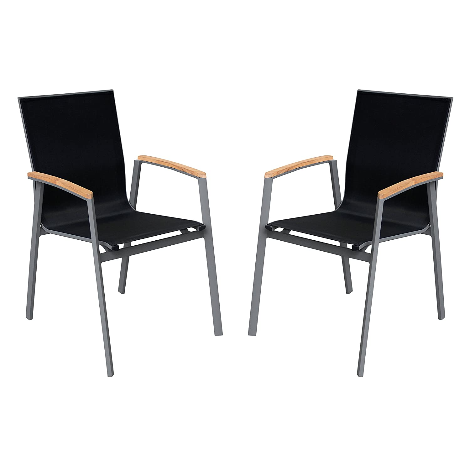 Amazon com armen living lcwechgr westport outdoor dining chair set of 2 in black and black wood finish garden outdoor