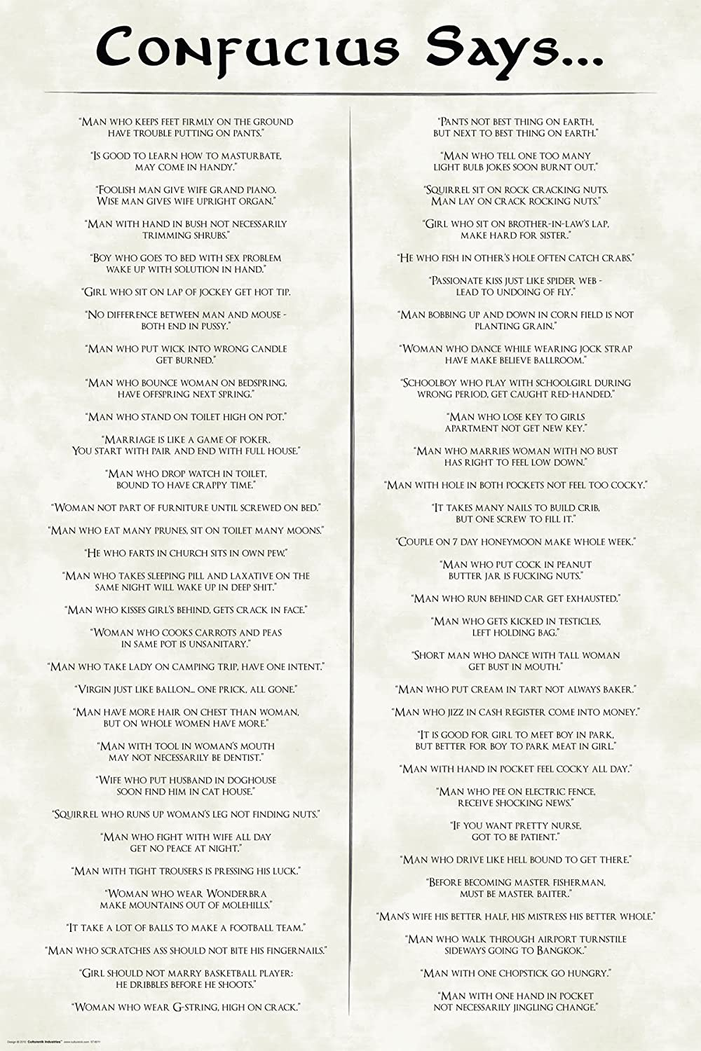 Confucius Says Quotes Novelty Decorative College Humor Poster Print 24x36