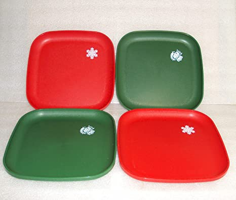 Tupperware 8 Inch Square Plates Set of 4 Christmas Holiday Design & Amazon.com | Tupperware 8 Inch Square Plates Set of 4 Christmas ...