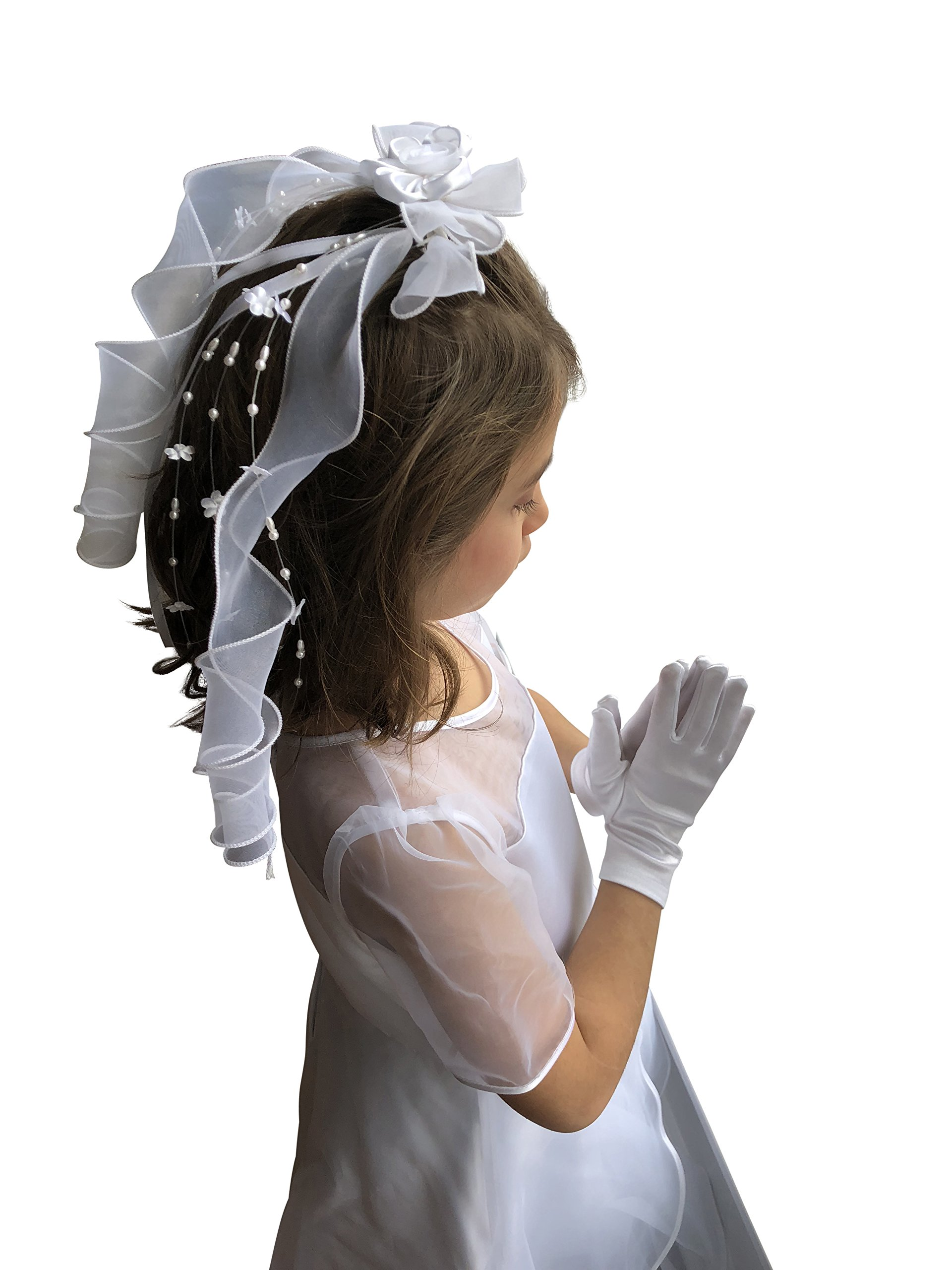 First Communion Veil White Foral Ribbon with Pearl from VGI by VGI (Image #3)