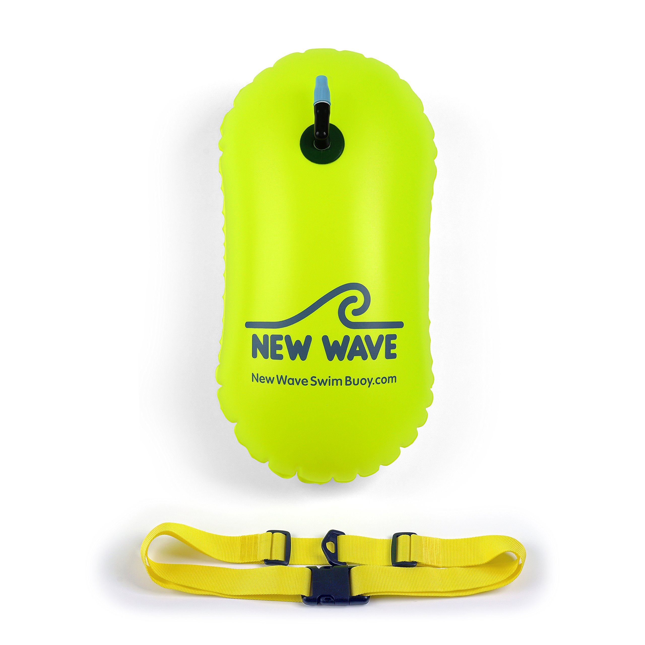 New Wave Swim Bubble for Open Water Swimmers and Triathletes - Be Bright, Be Seen & Be Safer with New Wave While Swimming Outdoors with This Safety Swim Buoy Tow Float (Fluo Green) by New Wave Swim Buoy